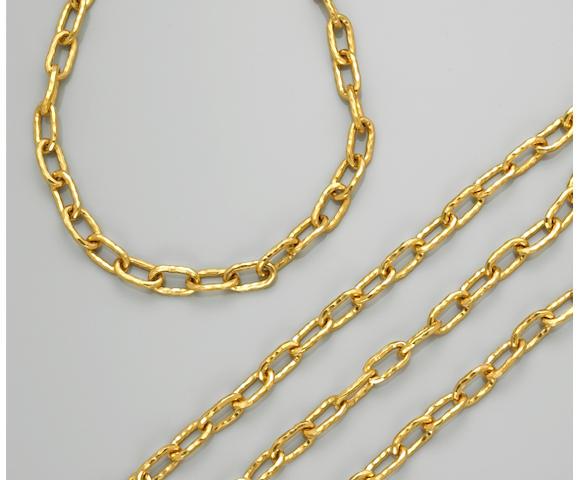 Two twenty-two karat gold chains, Jean Mahie