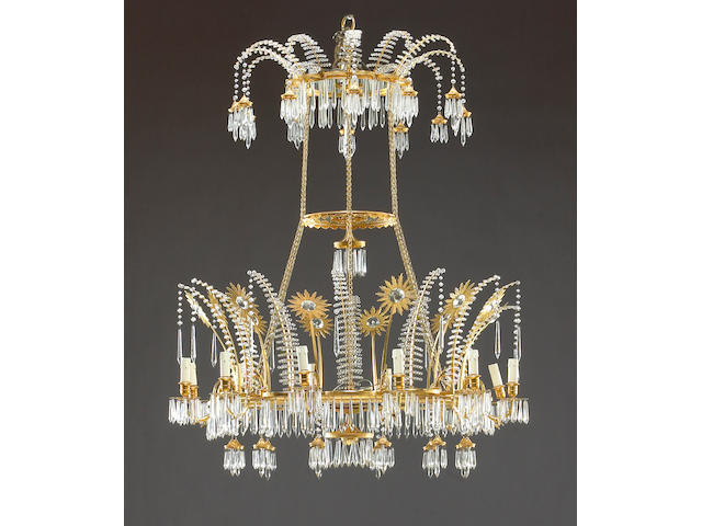 A very fine Russian Neoclassical gilt bronze and glass twelve light chandelier
