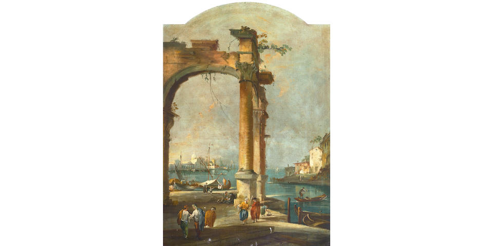 After Francesco Guardi A Venetian capriccio with figures among ruins 52 x 35 1/4in