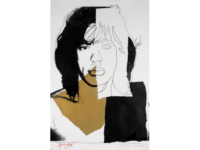 Andy Warhol Mick Jagger (black-gold) silkscreen signed and numbered 78/250