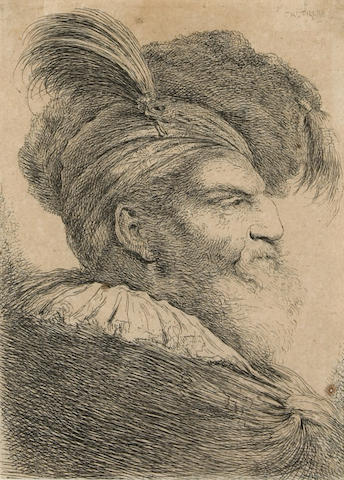 G.B. Castiglione Bearded Man with Plumed Headress (B.48) etching framed