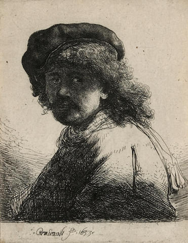 Rembrandt Harmensz van Rijn (Dutch, 1606-1669); Self-Portrait in a Cap and Scarf with the Face Dark: Bust;
