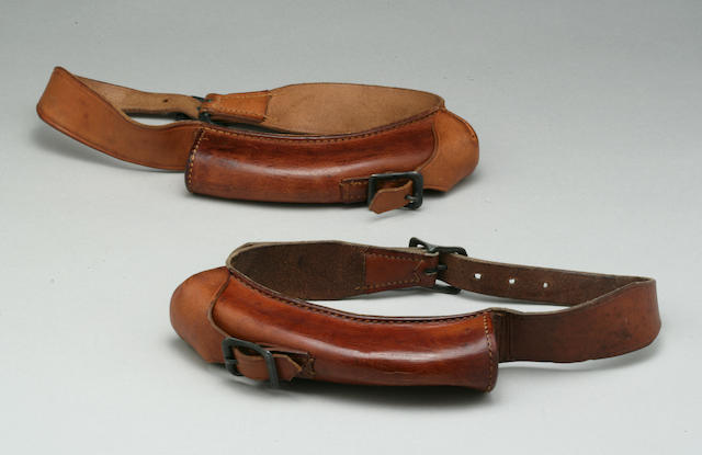 Two American World War II leather messagner carrying collars