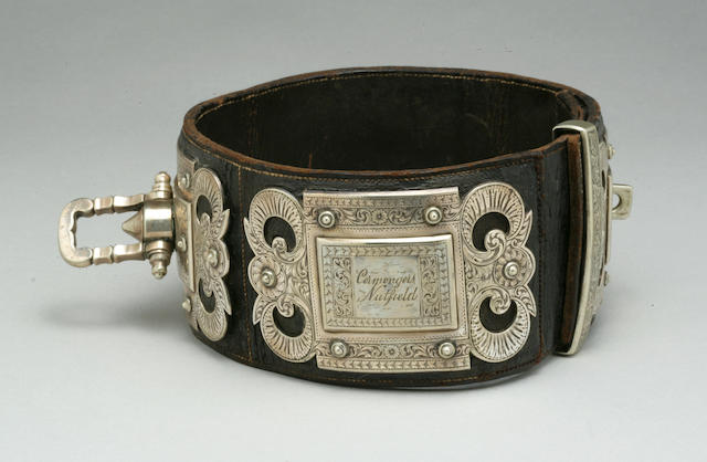 Victorian lavishly engraved silvered metal and leather collar in the baroque taste