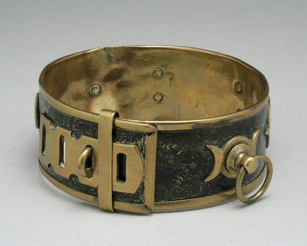 Victorian brass and leather collar with brass applique and designs