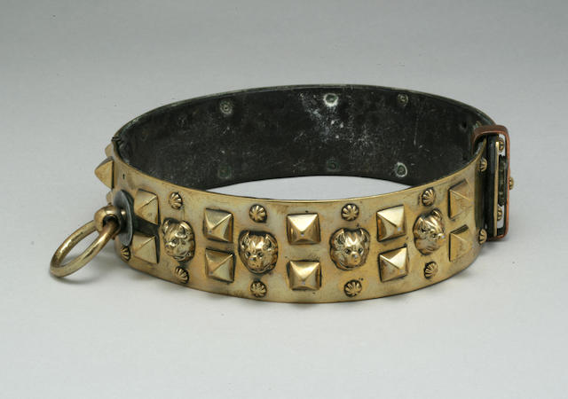 French brass and leather collar with bulldog heads on it