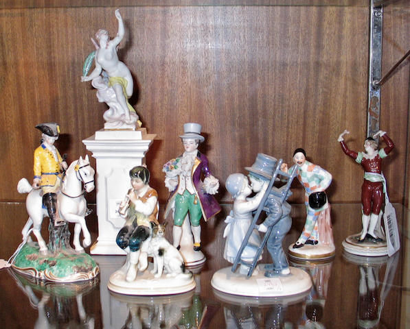 An assembled group of European porcelain figures