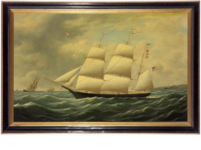 "An American school oil on canvas ""The Clipper Ship Golden Gate"" second half 19th century"