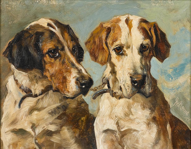 John Emms (British, 1843-1912) Old foxhounds coupled 18 x 23 cm. (7 x 9 in.)