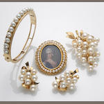 A collection of cultured pearl, 18k and 14k gold jewelry