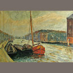 Continental School, 20th Century Boats along a canal 26 1/4 x 37 1/2in