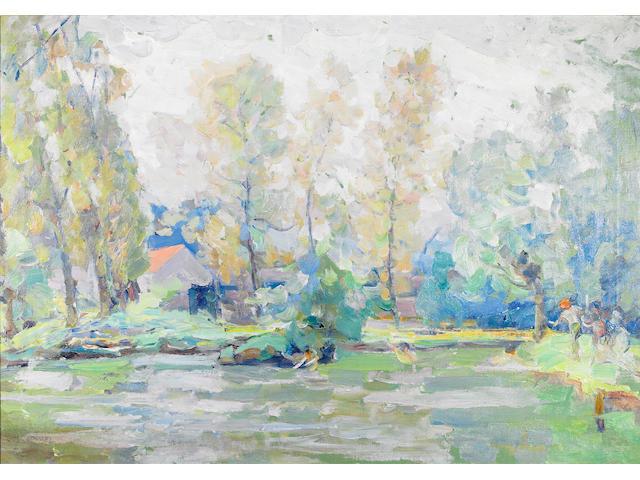 Joseph Raphael (American, 1869-1950) Spring Morning, Kriekeput, 1918 26 x 37in