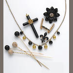 A collection of black onyx, seed pearl, enamel, 18k, 14k, silver and yellow metal jewelry, pearl brooch by, Shreve & Co.