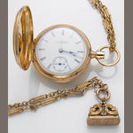 An Illinnois 14k gold pocket watch and 10k gold chain with fitted box