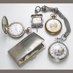 A collection of three silver, white and yellow metal pocket watches together with a sterling silver case, Tiffany & Co., Italy; Nachtigall, Elgin