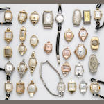 A collection of thirty-five ladies 14k gold watches