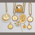 A collection of coin, religious medallion, 18k and 14k gold jewelry
