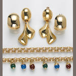A collection of gem-set, glass bead, 18k and 14k jewelry