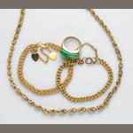 A collection of jade  , 22k, 18k and 14k gold jewelry