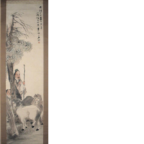 Attributed to Ren Yi (1840-1896) Figures and Horses