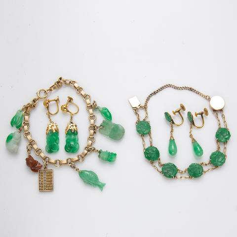 A collection of jadeite jade, 18k and 14k gold jewelry