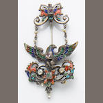 A late 19th century gem-set, enamel and silver brooch