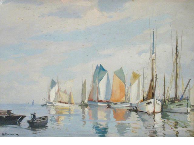 Henri Alphonse Barnoin  (French, 1882-1935) Thoniers au repos 18 x 24in