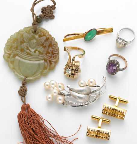 A collection of miscellaneous gem-set, diamond, synthetic stone, 18k, 14k gold, silver and yellow metal jewelry and gent's accessories