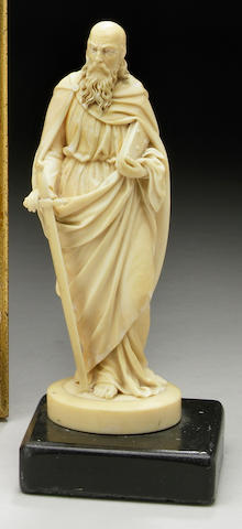 A German carved ivory figure of St. Paul