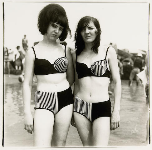 Diane Arbus (American, 1923-1971); Two Girls in matching bathing suits, Coney Island, New York;