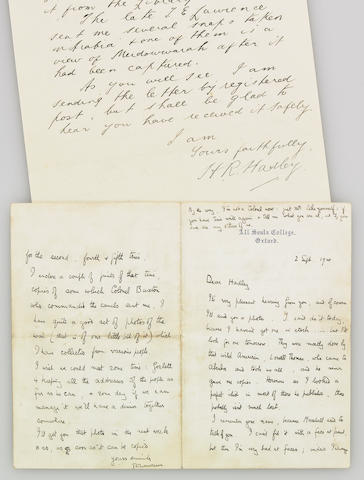 T.E. Lawrence ALS, 4pp, 9/2/1920, with letter of Provenance