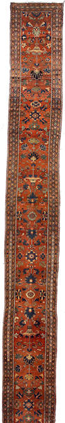 A Malayer runner central Persia, size approximately 2ft. 5in. x 22ft. 6in.