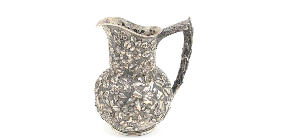 Sterling Floral Chased Water Pitcher by Jacobi & Jenkins
