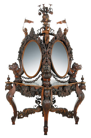 An American carved rosewood and marquetry center dressing stand