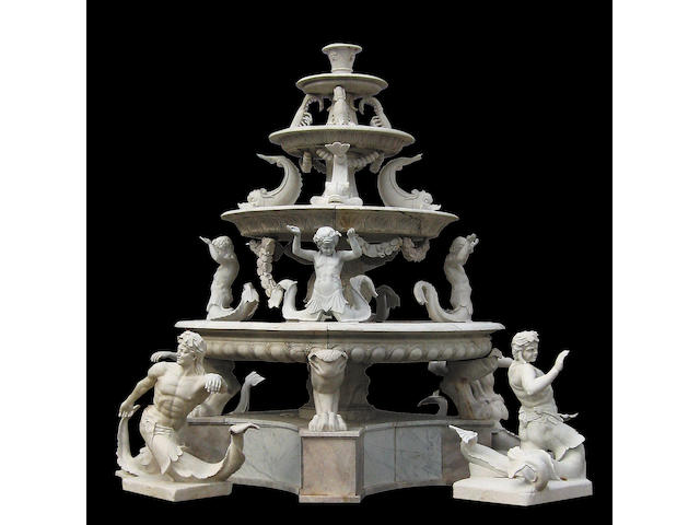 A monumental Baroque style marble figural fountain