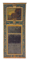A Louis XVI parcel gilt and paint decorated trumeau mirror