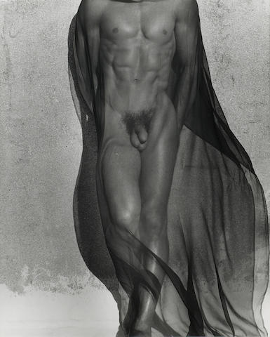 Herb Ritts (American, 1952-2002); Male Torso with Veil (Full Length), Silverlake;