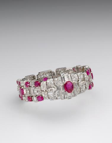 A late art deco ruby, diamond and platinum bracelet, Tiffany & Co,