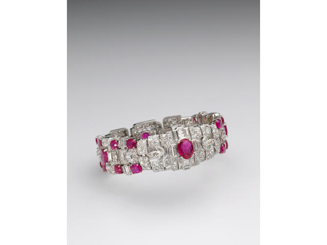 A late art deco ruby, diamond and platinum bracelet, Tiffany & Co,