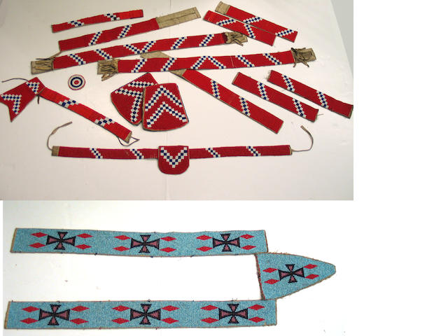A grouping of Native American beadwork