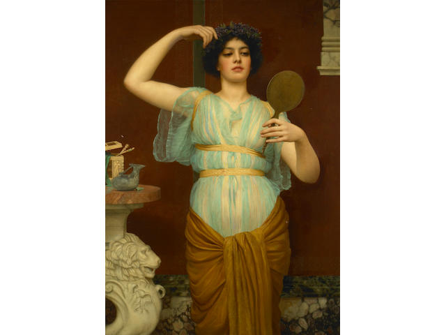John William Godward, RBA (British, 1861-1922) Ione 50 1/4 x 35 1/4in (127.5 x 89.4cm)