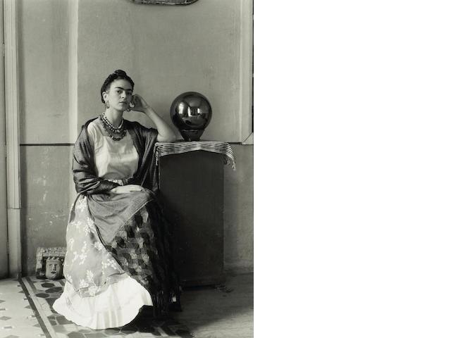 Manuel Alvarez Bravo (Mexican, 1902-2002); SPRING 2008 SALE Manuel Alvarez Bravo Frida With Globe ge