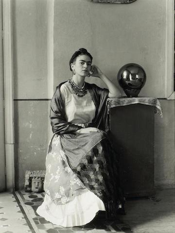 Manuel Alvarez Bravo (Mexican, 1902-2002); Frido Kahlo with Globe in Manuel Alvarez Bravo's Studio;