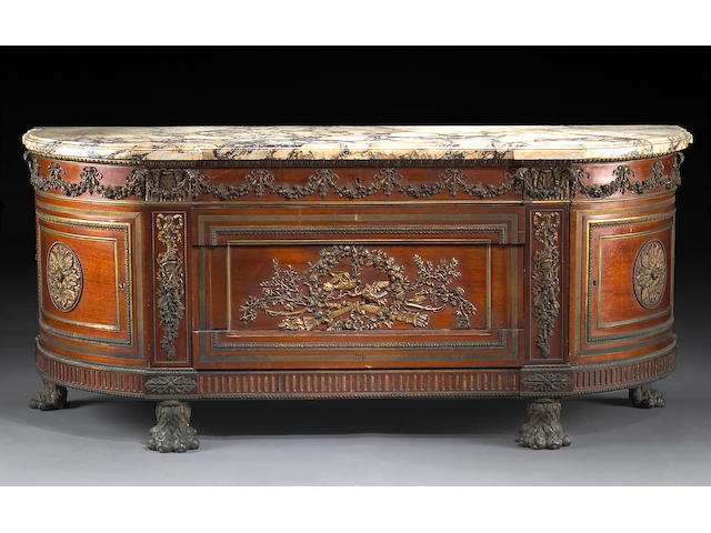 A Louis XVI style gilt bronze mounted commode a vantaux