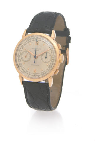 Patek Philippe, retailed by Gobbi, Milan. A fine and rare oversize 18k rose gold chronograph wristwatchRef.1579, Case No.668588, Movement No.868427, made in 1952, sold on June 16, 1953