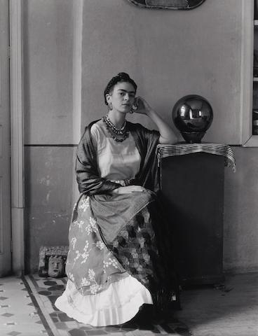 Manuel Alvarez Bravo (Mexican, 1902-2002); Frida Kahlo with Globe in Manuel Alvarez Bravo's Studio;