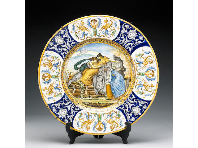 An Italian faince plaque, 17th/18th century