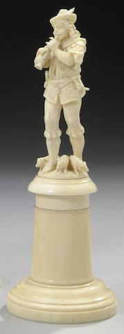 A Continental carved ivory figure of the Pied Piper