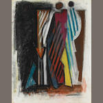 Hans Burkhardt, Untitled (Figures), 1974?, pastel on paper