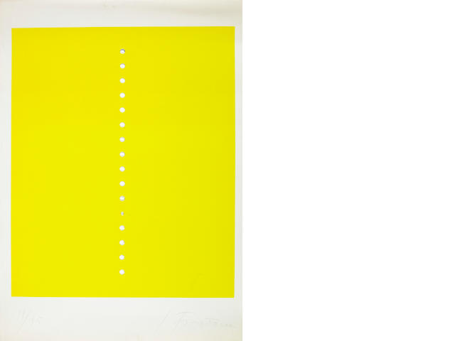 Lucio Fontana, Concetto Spaziale, silkscreen printed in yellow, with punched holes, 95 copies signed and numbered with the blindstamp Galleria Del Deposito, printed by Stampatore Brano Horvat, ed. Galleria del Deposito, Genoa, 1965